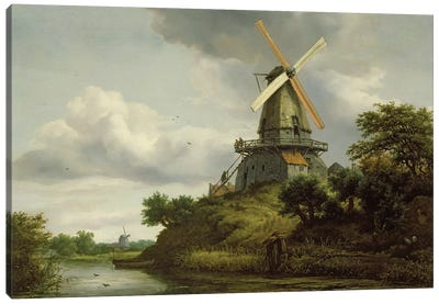 Windmill by a River  Canvas Art Print