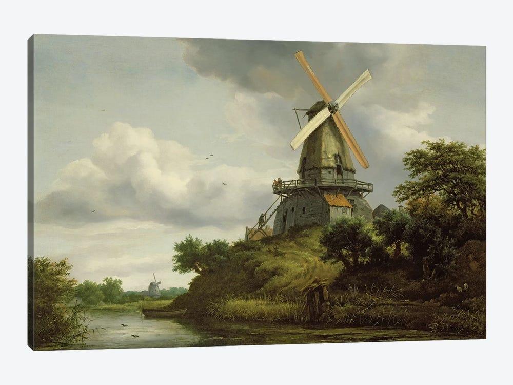 Windmill by a River  by Jacob Isaacksz van Ruisdael 1-piece Canvas Wall Art