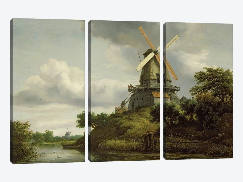 Windmill by a River  by Jacob Isaacksz van Ruisdael 3-piece Canvas Wall Art