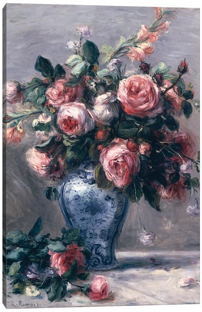 Vase of Roses  Canvas Art Print