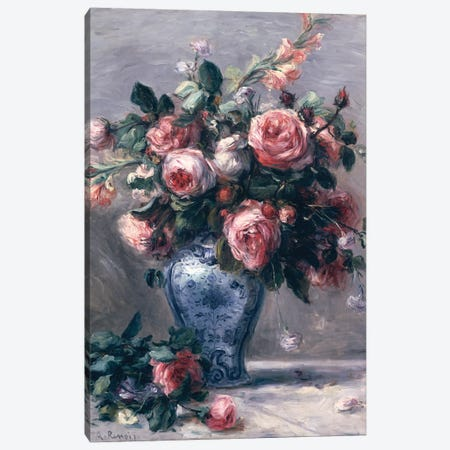 Vase of Roses  Canvas Print #BMN2892} by Pierre-Auguste Renoir Canvas Art Print