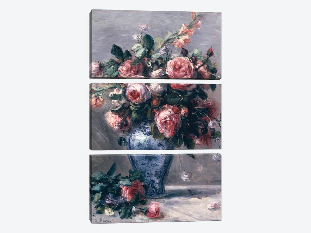 Vase of Roses  by Pierre-Auguste Renoir 3-piece Canvas Print