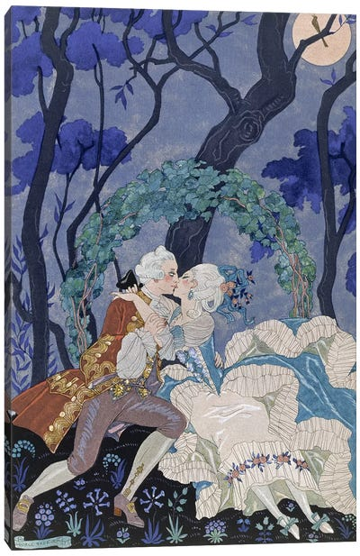 Secret Kiss, illustration for 'Fetes Galantes' by Paul Verlaine Canvas Art Print
