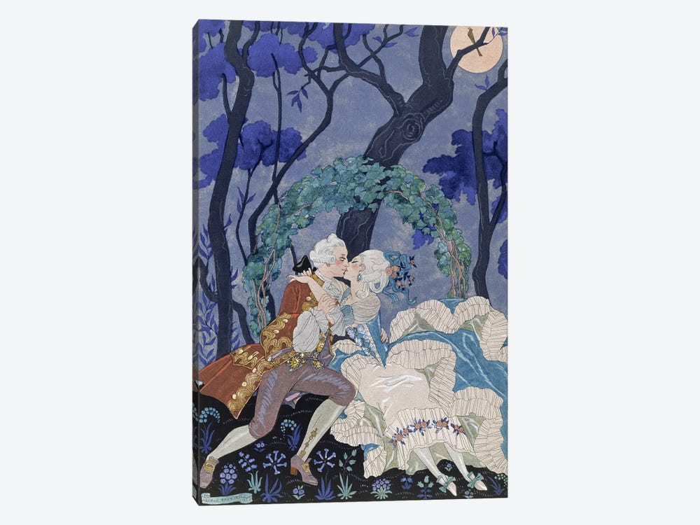 Secret Kiss, illustration for 'Fetes Galantes' by Paul Verlaine by Georges Barbier 1-piece Canvas Wall Art