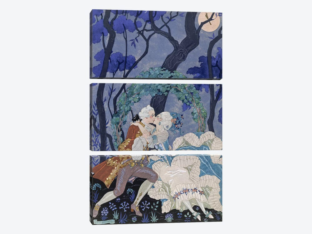 Secret Kiss, illustration for 'Fetes Galantes' by Paul Verlaine by Georges Barbier 3-piece Canvas Wall Art