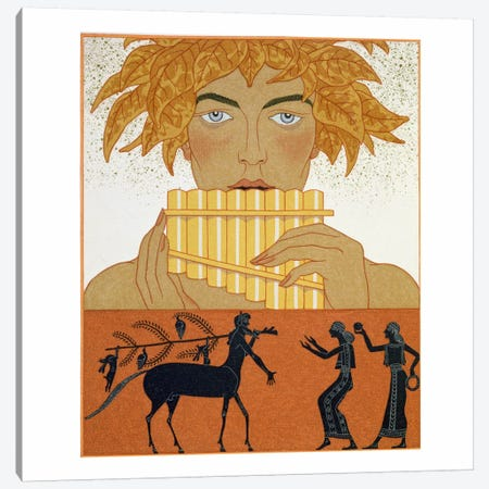 Pan Piper, illustration from 'Les Mythes' by Paul Valery (1871-1945) Canvas Print #BMN28} by George Barbier Canvas Artwork