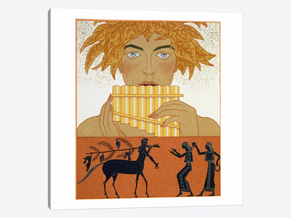 Pan Piper, illustration from 'Les Mythes' by Paul Valery (1871-1945) by George Barbier 1-piece Canvas Wall Art