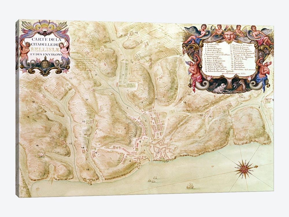 Ms 988 volume 3 fol.33 Map of the town and citadel of Bellisle, from the 'Atlas Louis XIV', 1683-88 by Sebastien Le Prestre de Vauban 1-piece Canvas Artwork