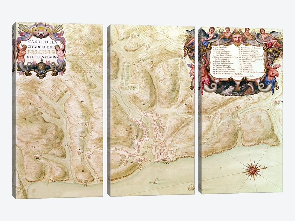Ms 988 volume 3 fol.33 Map of the town and citadel of Bellisle, from the 'Atlas Louis XIV', 1683-88 by Sebastien Le Prestre de Vauban 3-piece Canvas Artwork