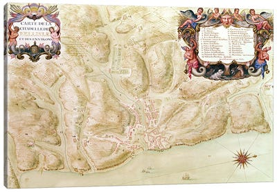 Ms 988 volume 3 fol.33 Map of the town and citadel of Bellisle, from the 'Atlas Louis XIV', 1683-88  Canvas Art Print
