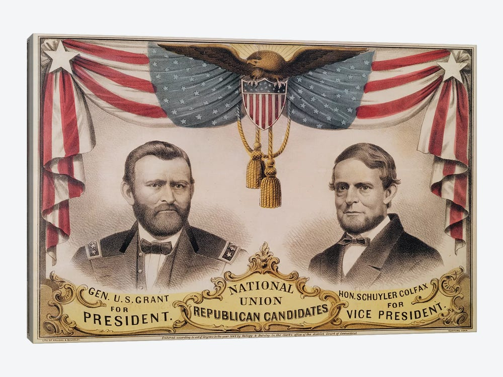 Electoral poster for the U.S.A. Presidential election of 1868 depicting Ulysses S. Grant and Schuyler Colfax, 1868  by American School 1-piece Canvas Artwork