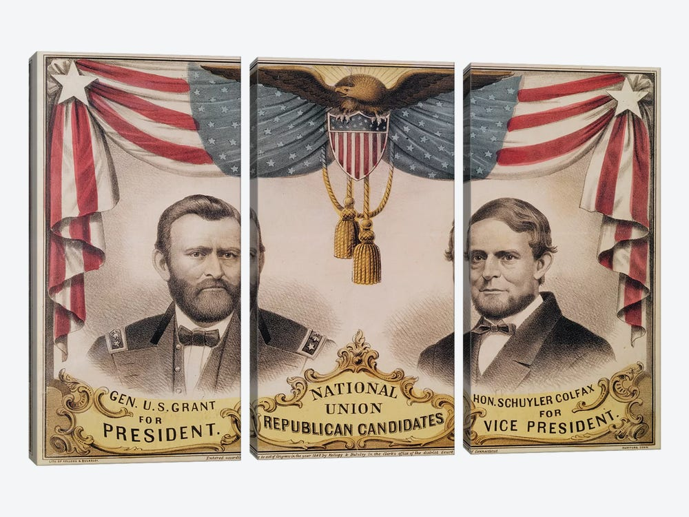 Electoral poster for the U.S.A. Presidential election of 1868 depicting Ulysses S. Grant and Schuyler Colfax, 1868  by American School 3-piece Canvas Wall Art