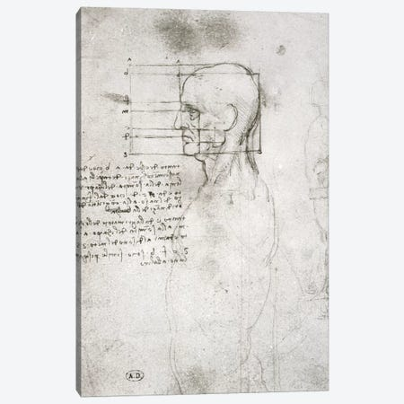 Head of an Old Man in Profile, facsimile copy  Canvas Print #BMN2916} by Leonardo da Vinci Art Print