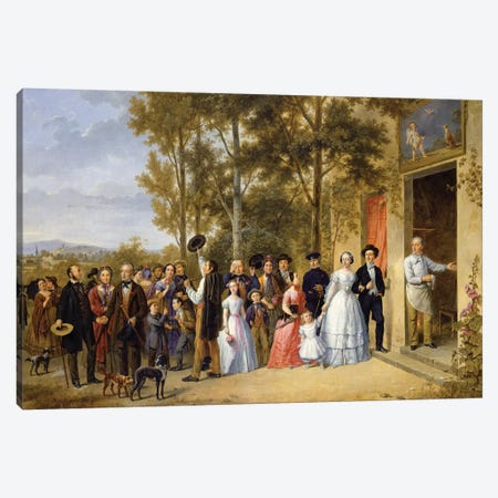 A Wedding at the Coeur Volant, Louveciennes, c.1850  Canvas Print #BMN2920} by French School Canvas Art Print