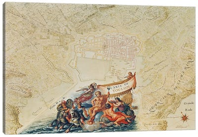 Ms. 987, Vol.2 fol.63 Plan of Toulon, from the 'Atlas Louis XIV', 1683-88 Canvas Art Print
