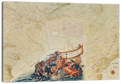 Ms. 987, Vol.2 fol.63 Plan of Toulon, from the 'Atlas Louis XIV', 1683-88  Canvas Art Print