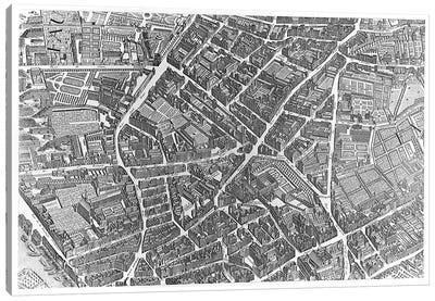 Plan of Paris, known as the 'Plan de Turgot', pl.7 engraved by Claude Lucas, 1734-39  Canvas Art Print