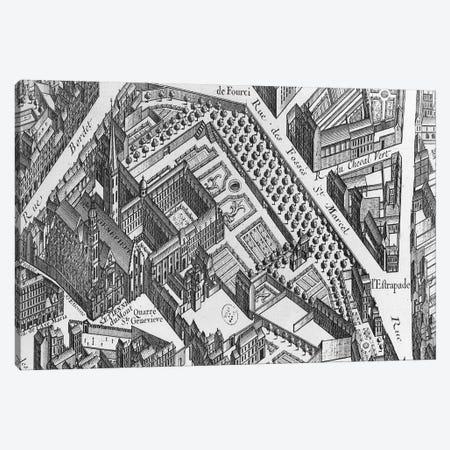 Plan of Paris, known as the 'Plan de Turgot', engraved by Claude Lucas, 1734-39  Canvas Print #BMN2926} by Louis Bretez Canvas Artwork