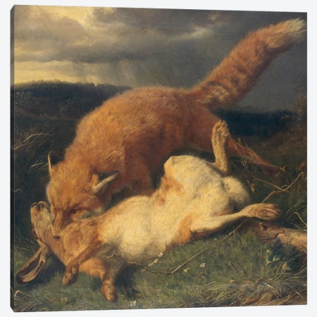 Fox and Hare, 1866  Canvas Print #BMN2933} by Johann Baptist Hofner Canvas Artwork