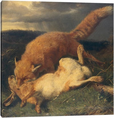 Fox and Hare, 1866  Canvas Art Print