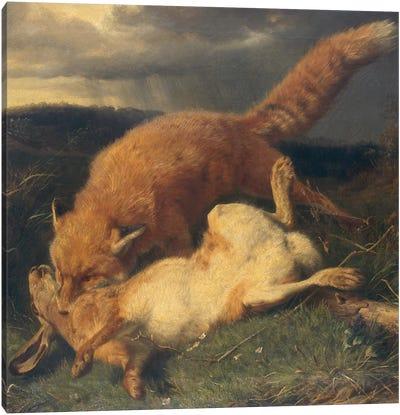 Fox and Hare, 1866  Canvas Art Print
