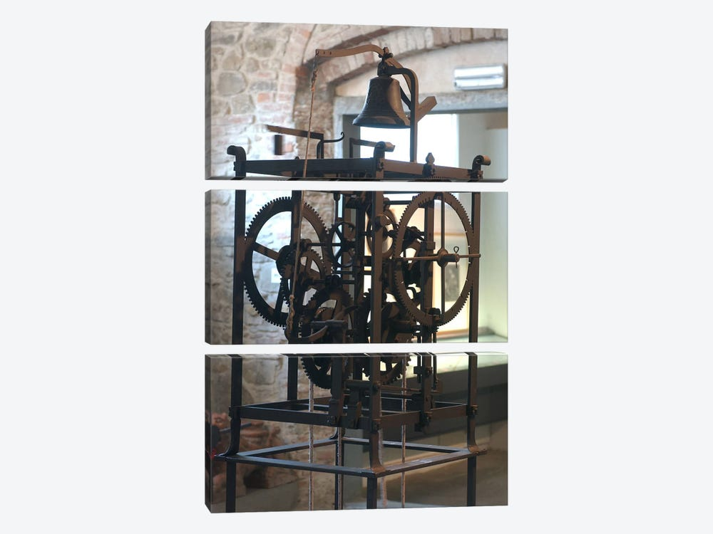 Reconstruction of a mechanical clock by Leonardo da Vinci 3-piece Art Print