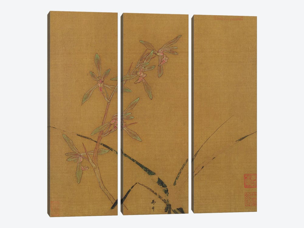 Orchids  by Japanese School 3-piece Canvas Wall Art