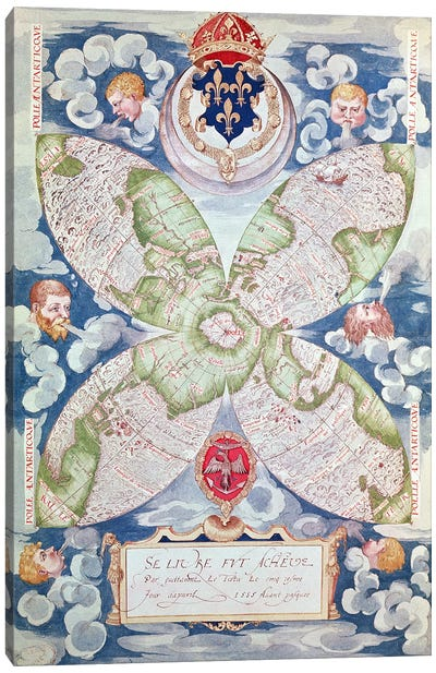 Fol.7v Map of the North Pole, from 'Cosmographie Universelle', 1555  Canvas Art Print
