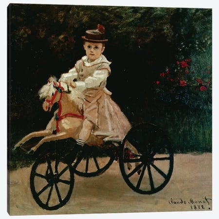 Jean Monet on his Hobby Horse, 1872  Canvas Print #BMN2942} by Claude Monet Art Print