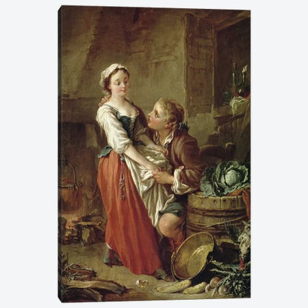 The Beautiful Kitchen Maid  Canvas Print #BMN2947} by Francois Boucher Canvas Art