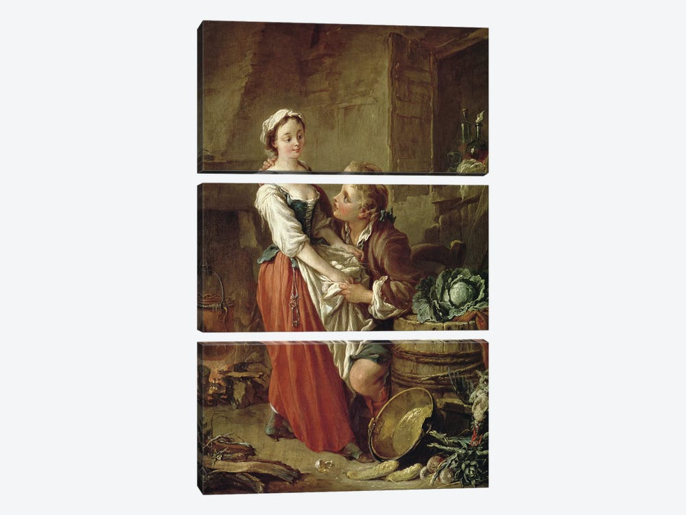 The Beautiful Kitchen Maid  by Francois Boucher 3-piece Canvas Wall Art
