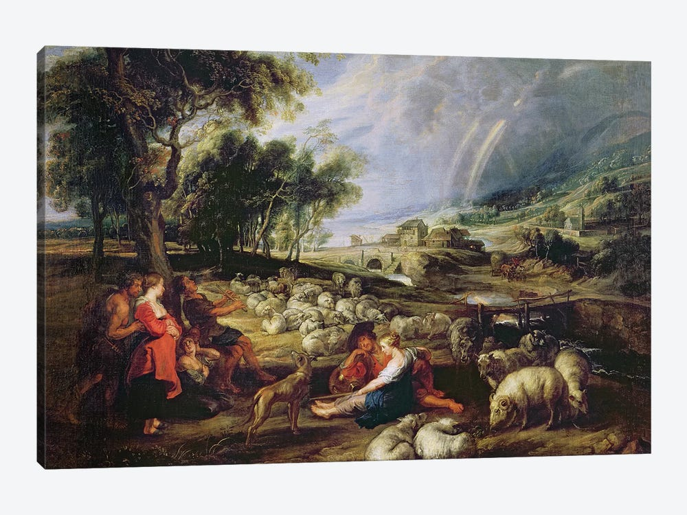 Landscape with a Rainbow  by Peter Paul Rubens 1-piece Canvas Art
