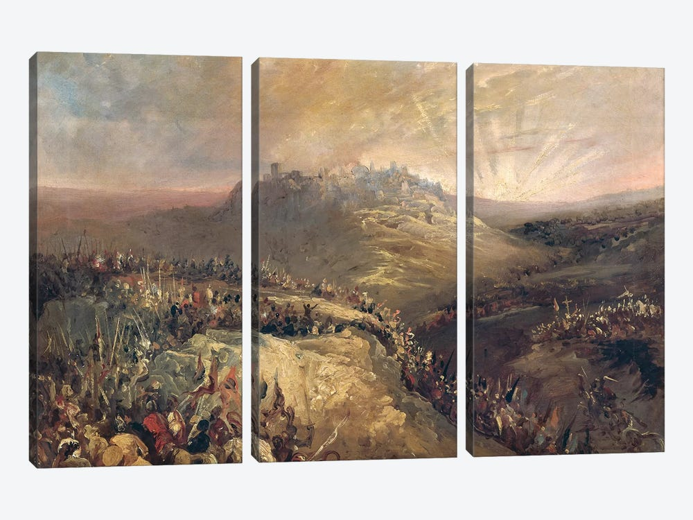 The Crusaders Before Jerusalem  by Eugenio Lucas Velazquez 3-piece Canvas Print