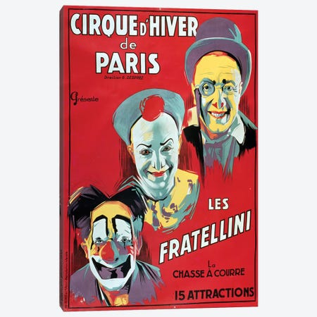 Poster advertising the 'Cirque d'Hiver de Paris' featuring the Fratellini Clowns, c.1927  Canvas Print #BMN2956} by French School Canvas Art Print