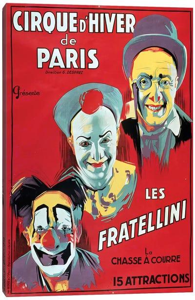 Poster advertising the 'Cirque d'Hiver de Paris' featuring the Fratellini Clowns, c.1927  Canvas Art Print
