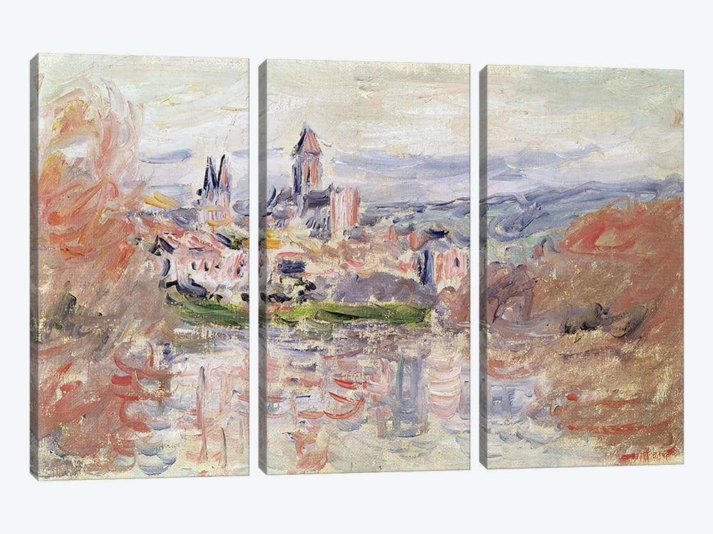 The Village of Vetheuil, c.1881  by Claude Monet 3-piece Canvas Wall Art