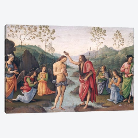 The Baptism of Christ, from the Convent of San Pietro, Perugia, 1496-98  Canvas Print #BMN2959} by Pietro Perugino Canvas Art