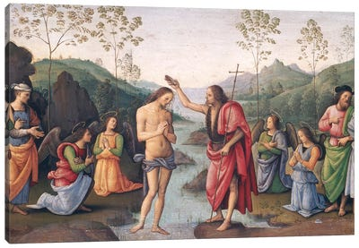The Baptism of Christ, from the Convent of San Pietro, Perugia, 1496-98  Canvas Art Print