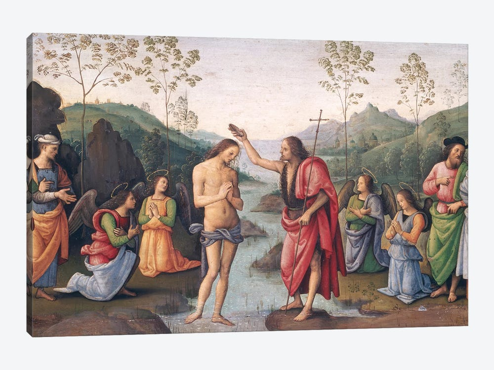 The Baptism of Christ, from the Convent of San Pietro, Perugia, 1496-98  by Pietro Perugino 1-piece Canvas Art Print