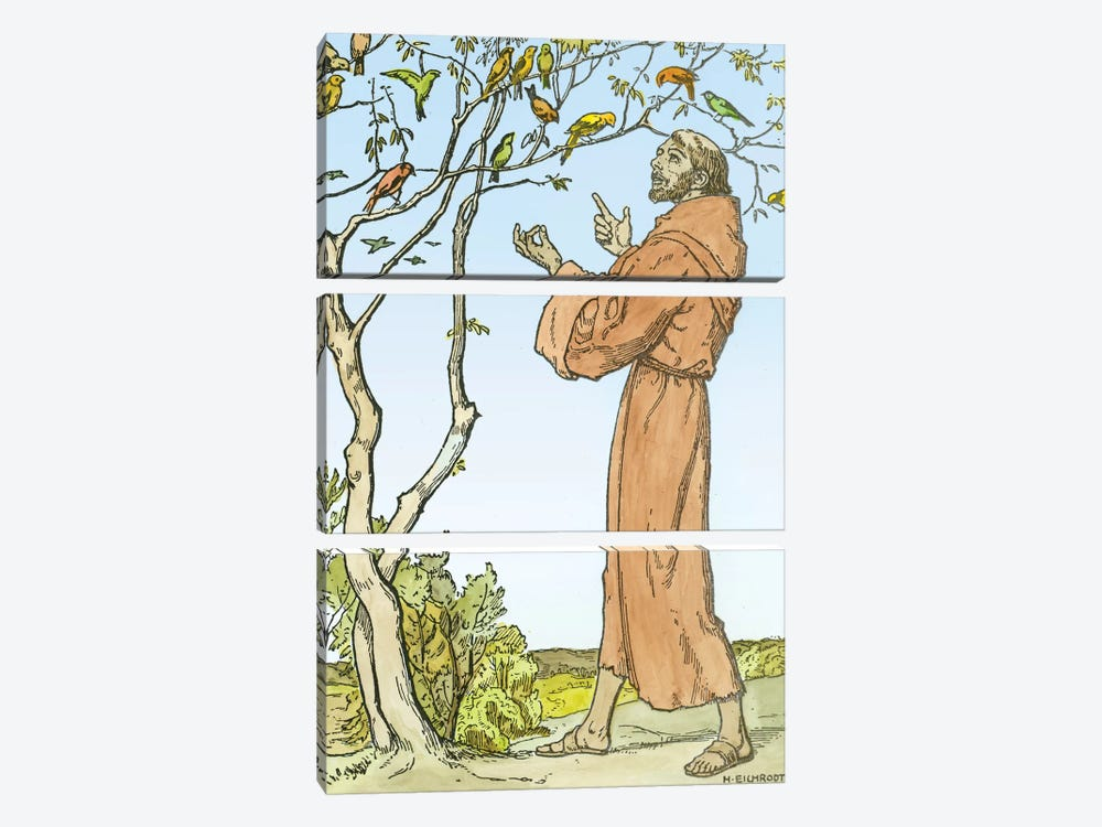 St. Francis of Assisi  by Hellmut Eichrodt 3-piece Canvas Art Print
