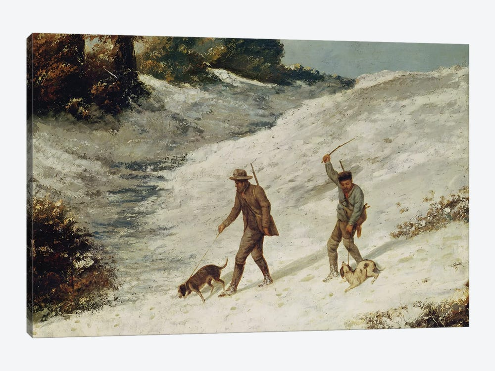 Hunters in the Snow or The Poachers  by Gustave Courbet 1-piece Canvas Art