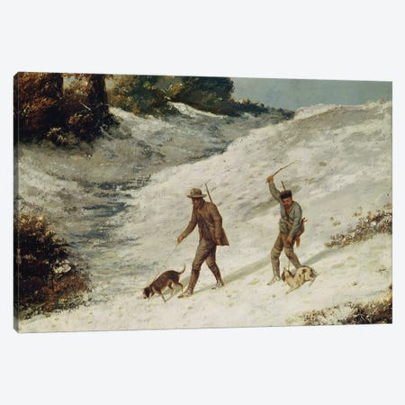 Hunters in the Snow or The Poachers  Canvas Print #BMN2965} by Gustave Courbet Canvas Wall Art