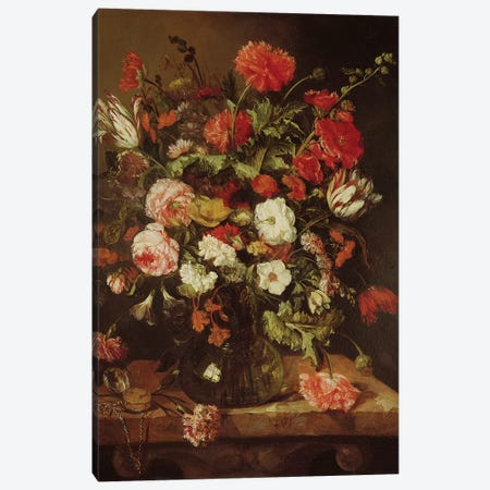 Still Life with Flowers  Canvas Print #BMN296} by Abraham Hendricksz van Beyeren Canvas Art