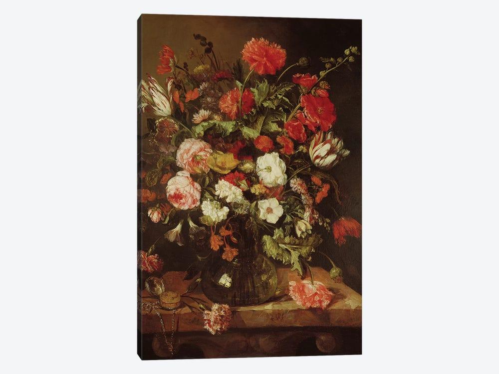 Still Life with Flowers  by Abraham Hendricksz van Beyeren 1-piece Canvas Art Print