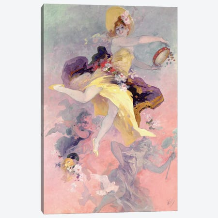 Dancer with a Basque Tambourine  Canvas Print #BMN2977} by Jules Cheret Canvas Print