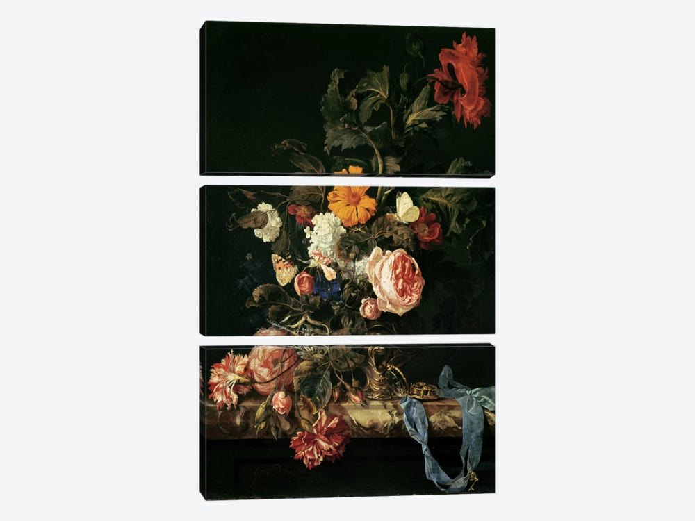 Still Life with Poppies and Roses by Willem van Aelst 3-piece Canvas Wall Art