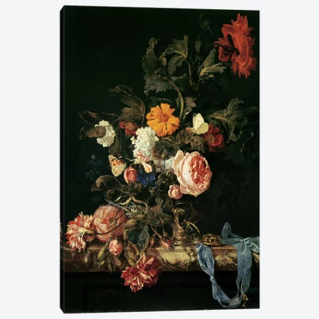 Still Life with Poppies and Roses Canvas Print #BMN297} by Willem van Aelst Canvas Wall Art