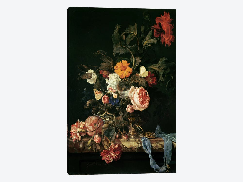 Still Life with Poppies and Roses by Willem van Aelst 1-piece Canvas Artwork