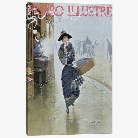 Young Parisian hatmaker, cover illustration of 'Figaro Illustre', February 1892  3-Piece Canvas #BMN2983} by Jean Beraud Canvas Art Print
