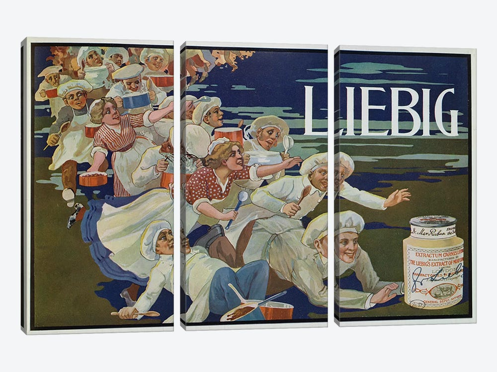 Advertisement for 'Extractum Carnis Liebig' by English School 3-piece Canvas Artwork